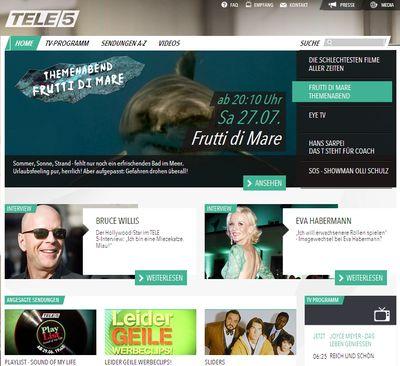 Tele-5-de in tele5.de mit Relaunch