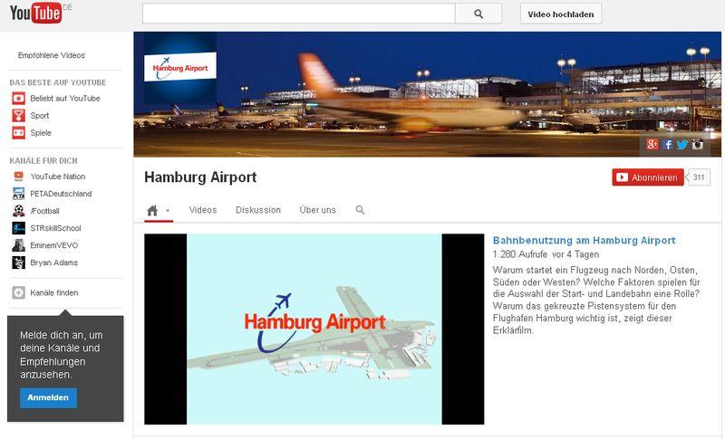 Youtube-hamburg-airport in  YouTube-Kanal des Hamburger Flughafens